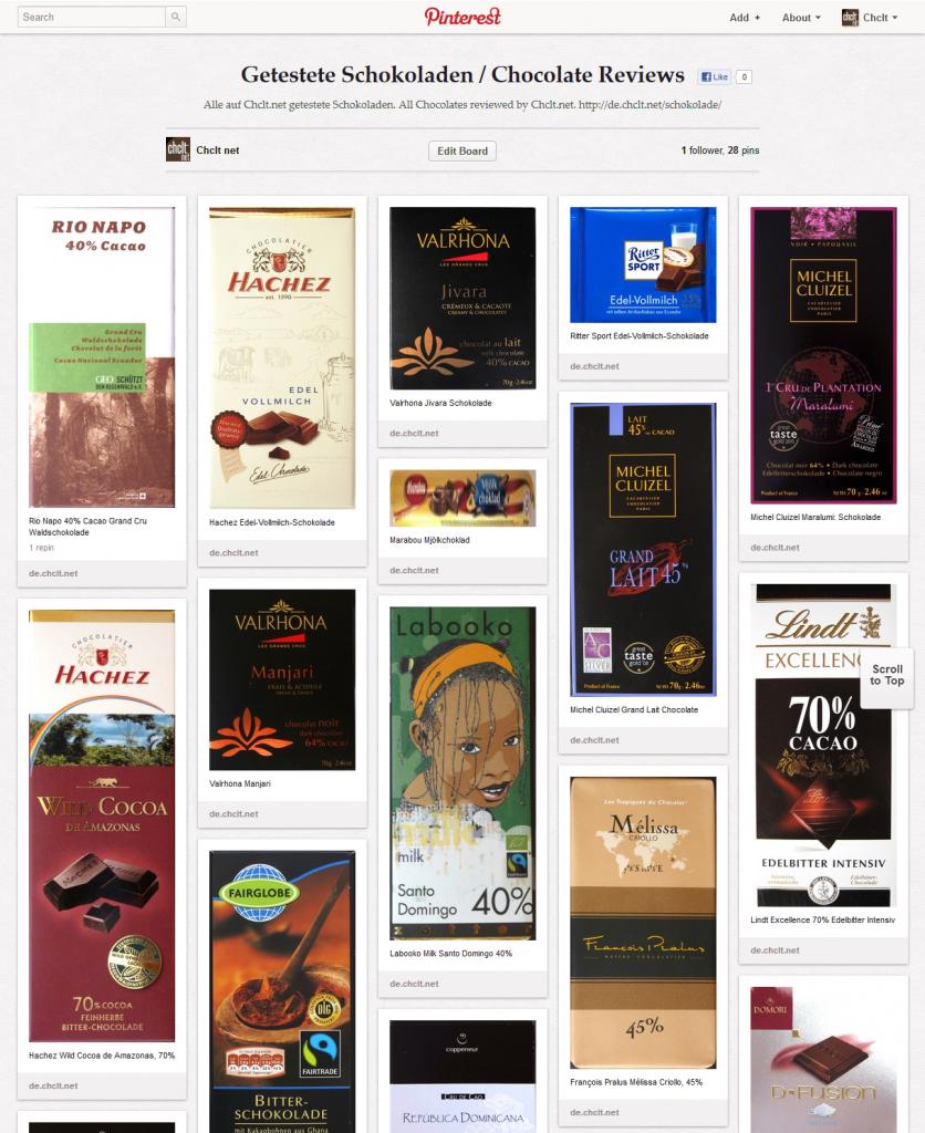 Pinterest-Feed -  Schokoladen-Testseite Chclt.net