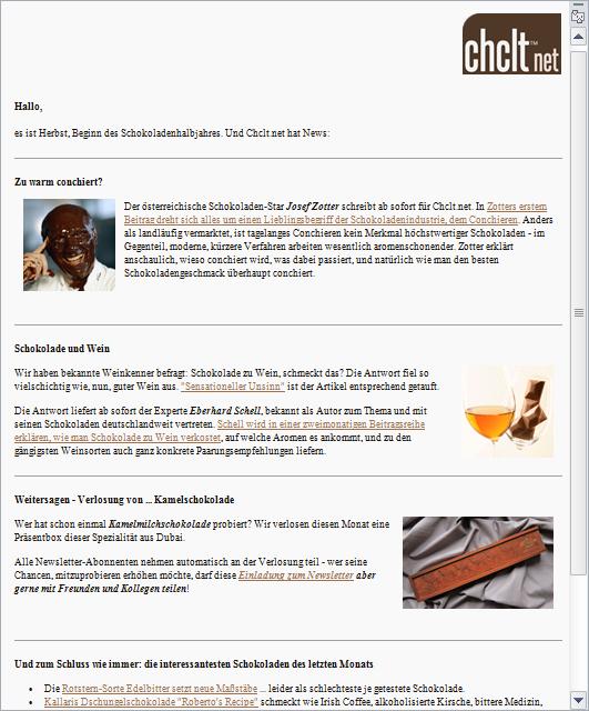 Schokoladen-Newsletter