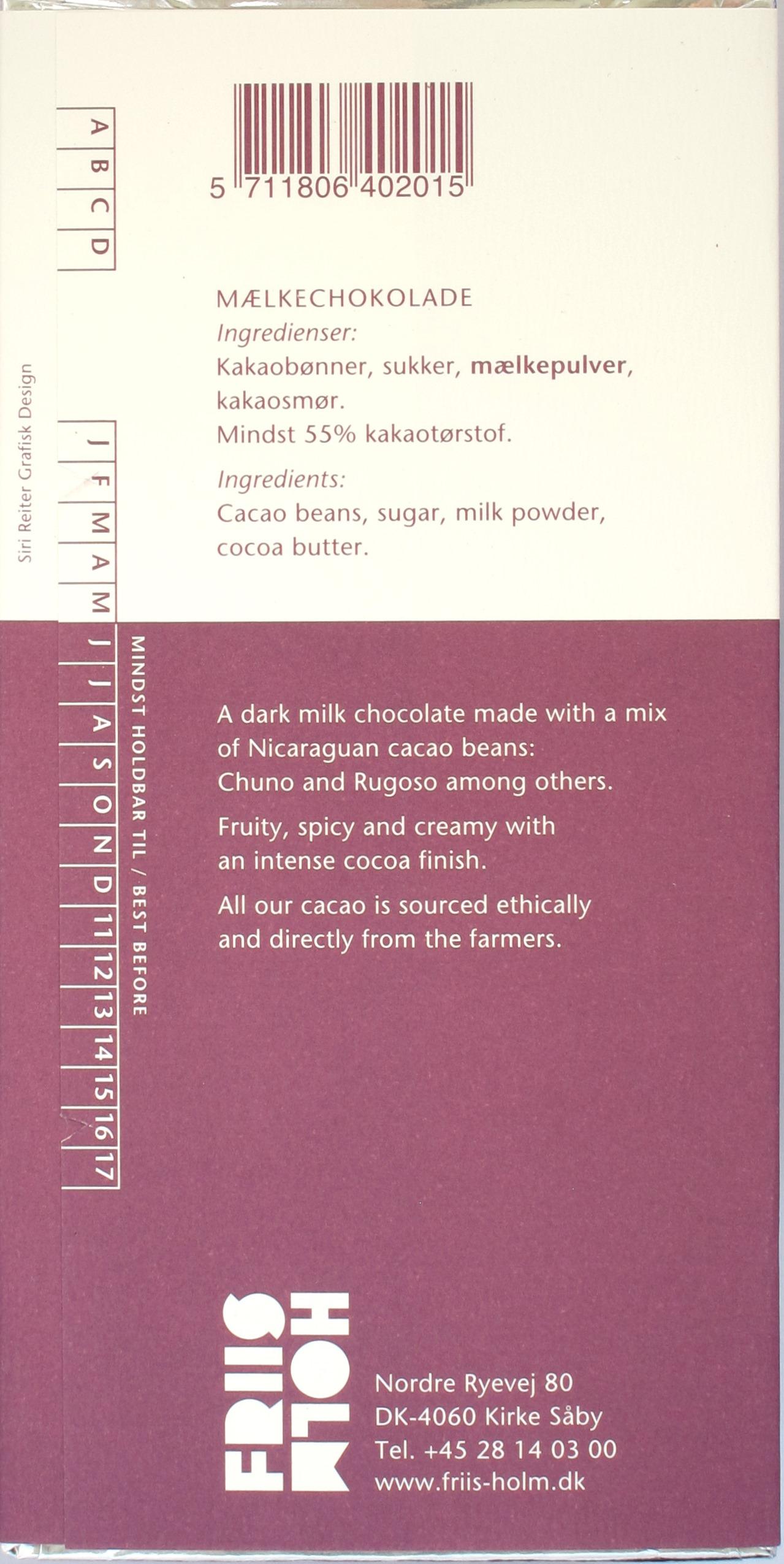 Inhaltsangaben: Friis Holm 55% Milchschokolade