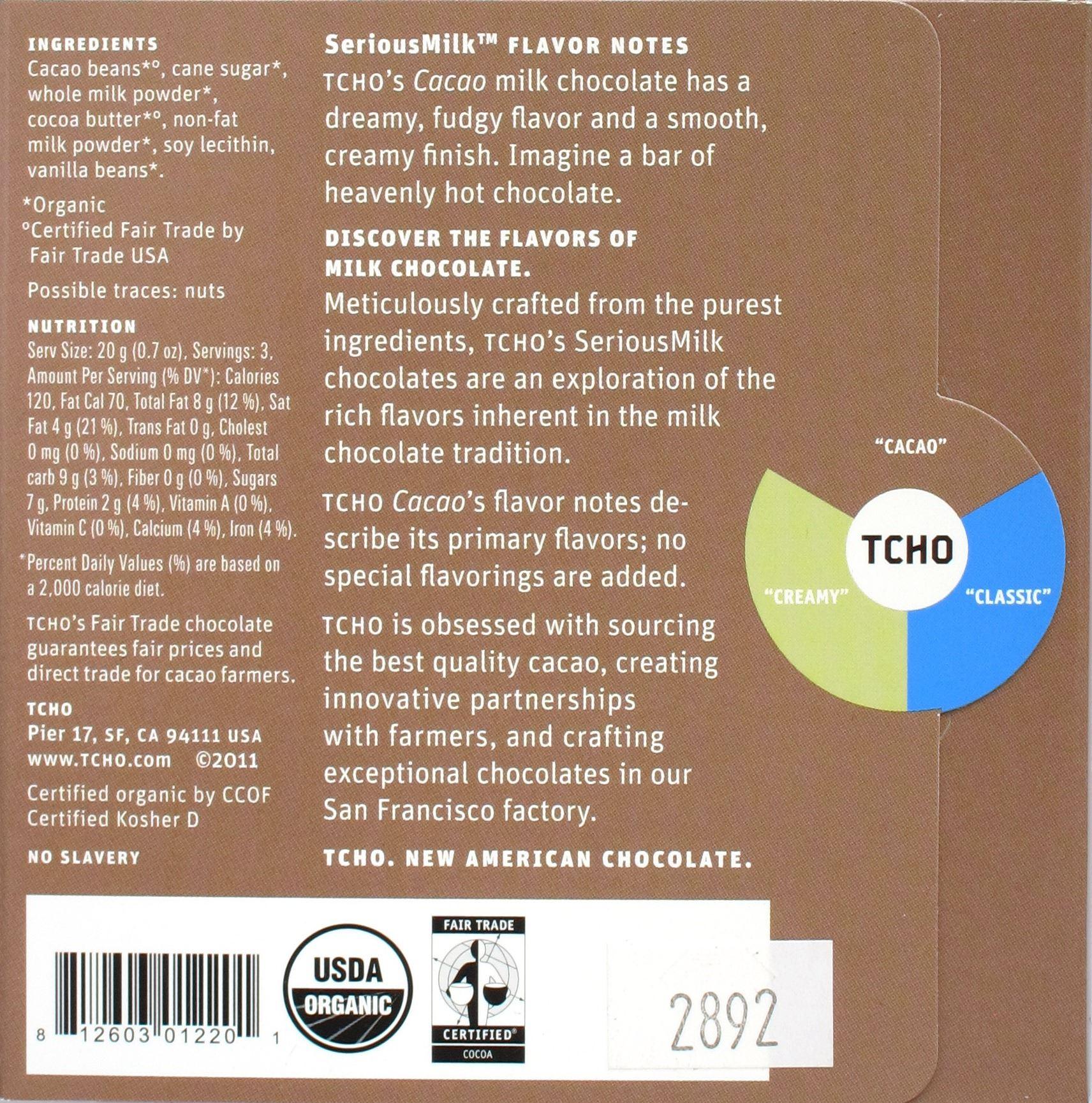 """TCHO """"Cacao"""" Milchschokolade, Rückseite"""