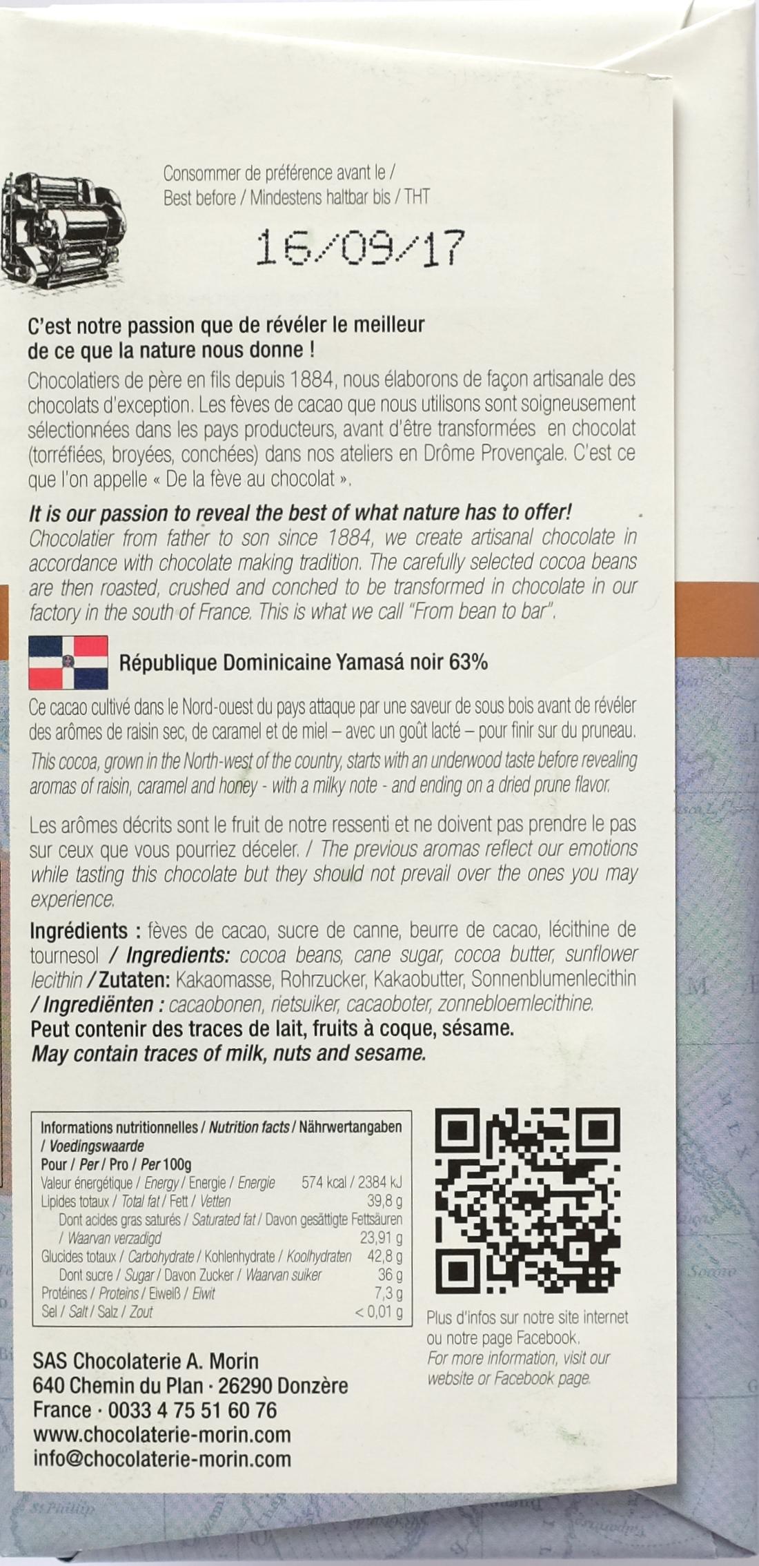 Chocolaterie A. Morin, 63% Dominikanische Republik, Rückseite