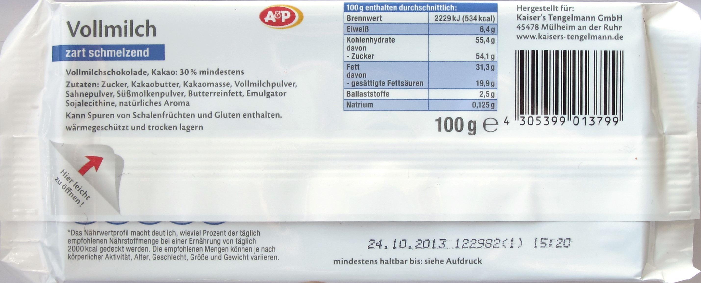 Tengelmann/Kaisers/A&P Vollmilchschokolade - Rückseite