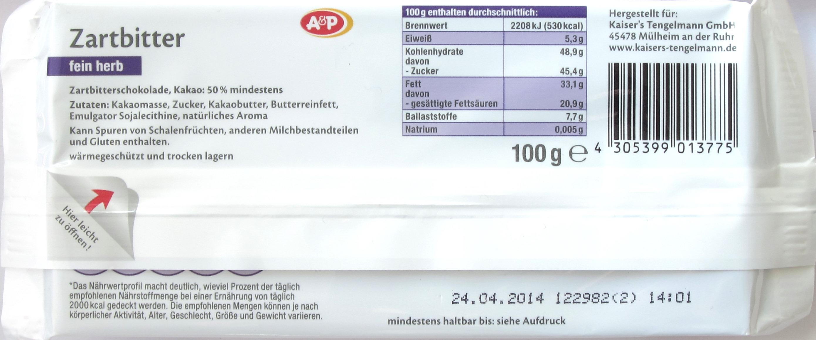 A&P Schokolade 50%, Rückseite