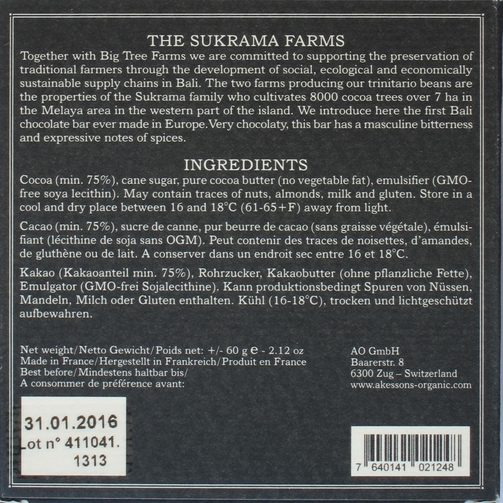 Rückseite: Åkesson Bali Sukrama Farms 75% Trinitario