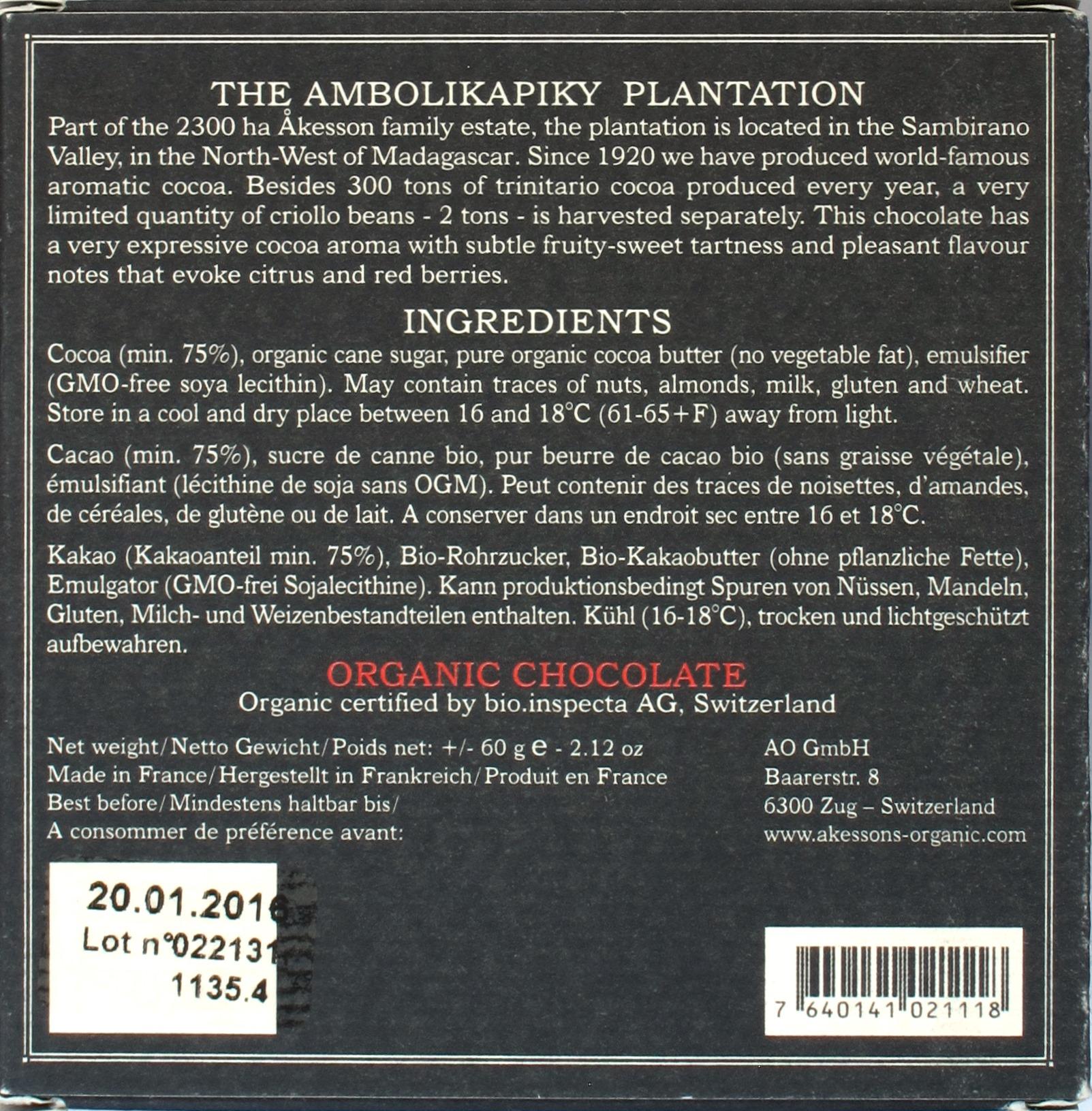 Åkesson's Criollo-Bitterschokolade, 75%, Rückseite