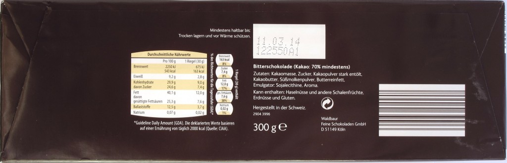 "ALDI-Bitterschokolade ""Alpen-Schokli"" - Rückseite"
