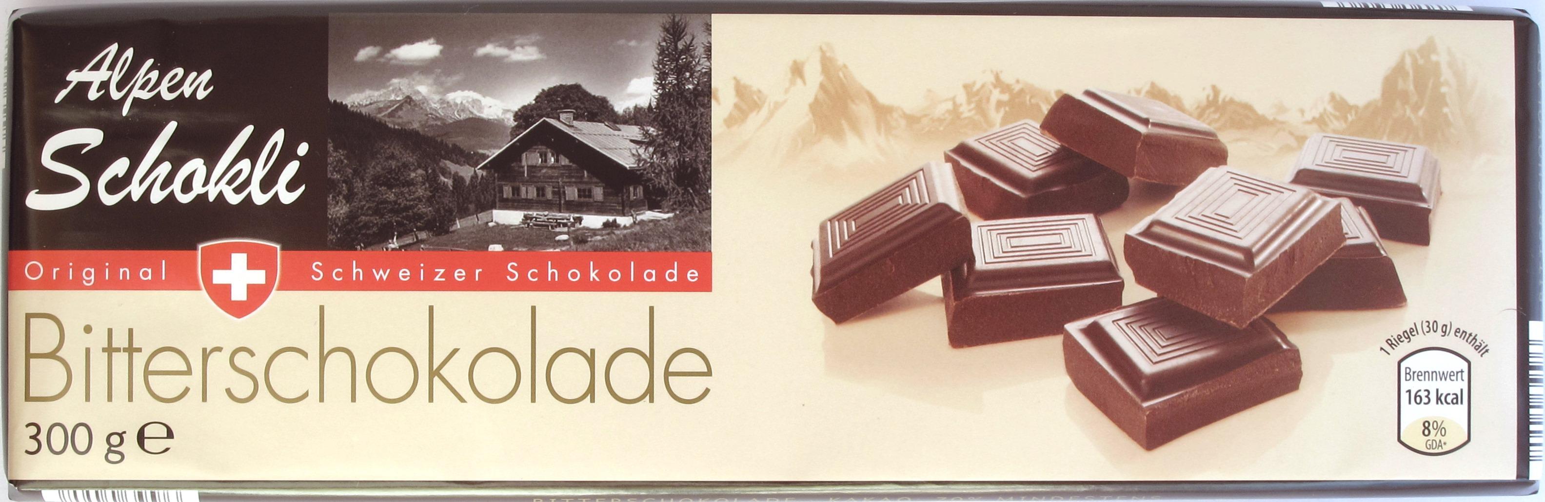 """ALDI-Bitterschokolade """"Alpen-Schokli"""""""