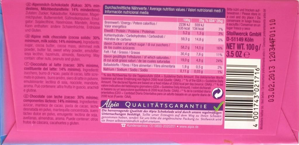 Alpia Alpenmilchschokolade (Stollwerck) - Packungsrückseite