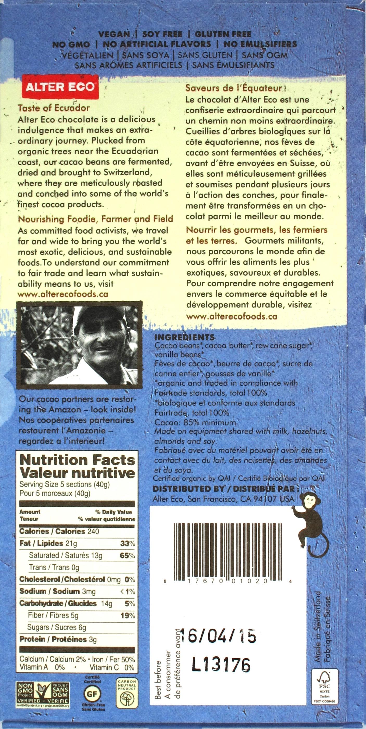 Alter Eco Bio-Fairtrade-Schokolade 85%, Inhaltsangaben