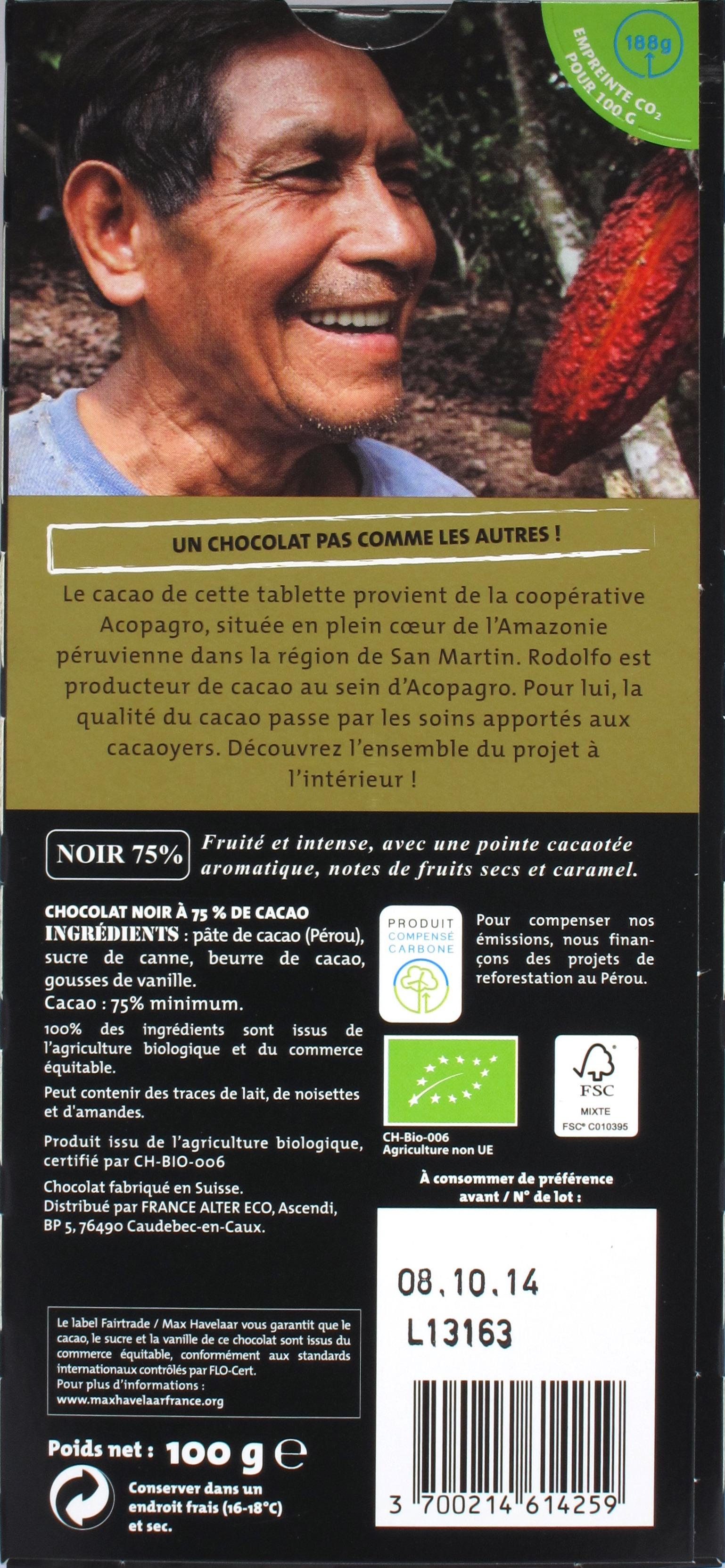 Rückseite - Alter Eco 75% Bitterschokolade