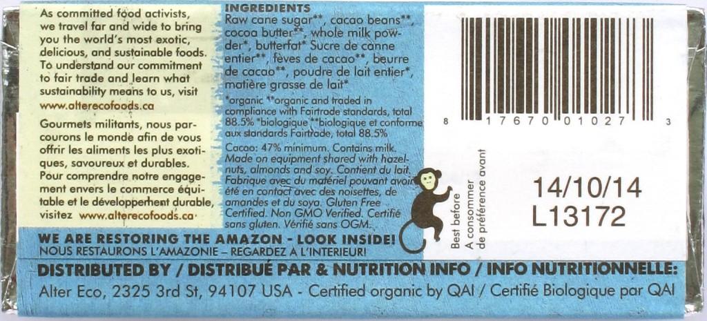 Rückseite: Alter Eco Milchschokolade 47%