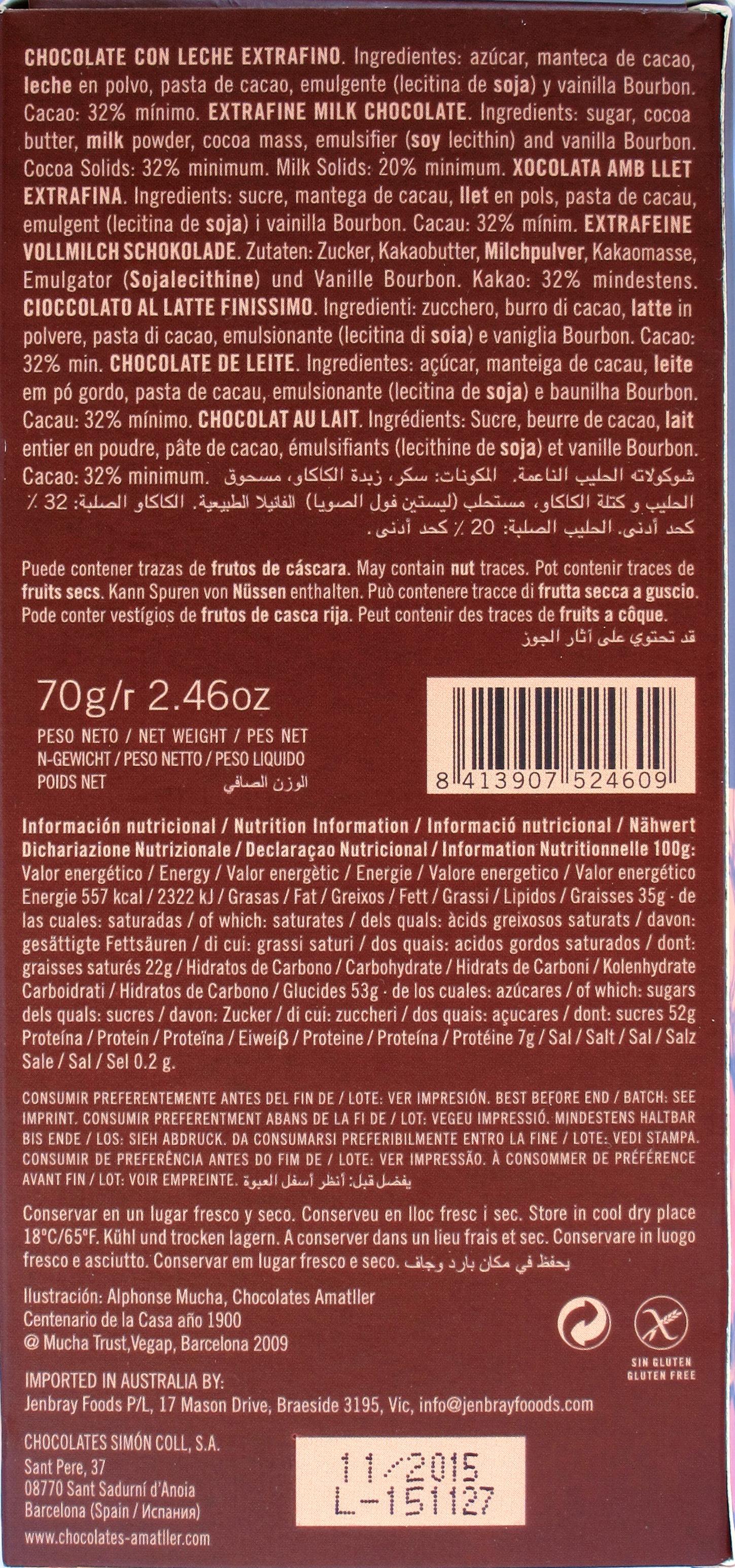Amatller Chocolate con Leche 32% Cacao Ghana con Vainilla Natural, Rückseite