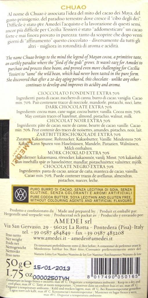 "Amedei ""Chuao"", 70% Kakaogehalt - Packungsrückseite"