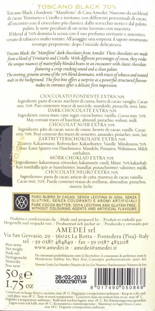 Amedei Toscano Black 70, 70%ige Dunkle Schokolade - Inhaltsangaben