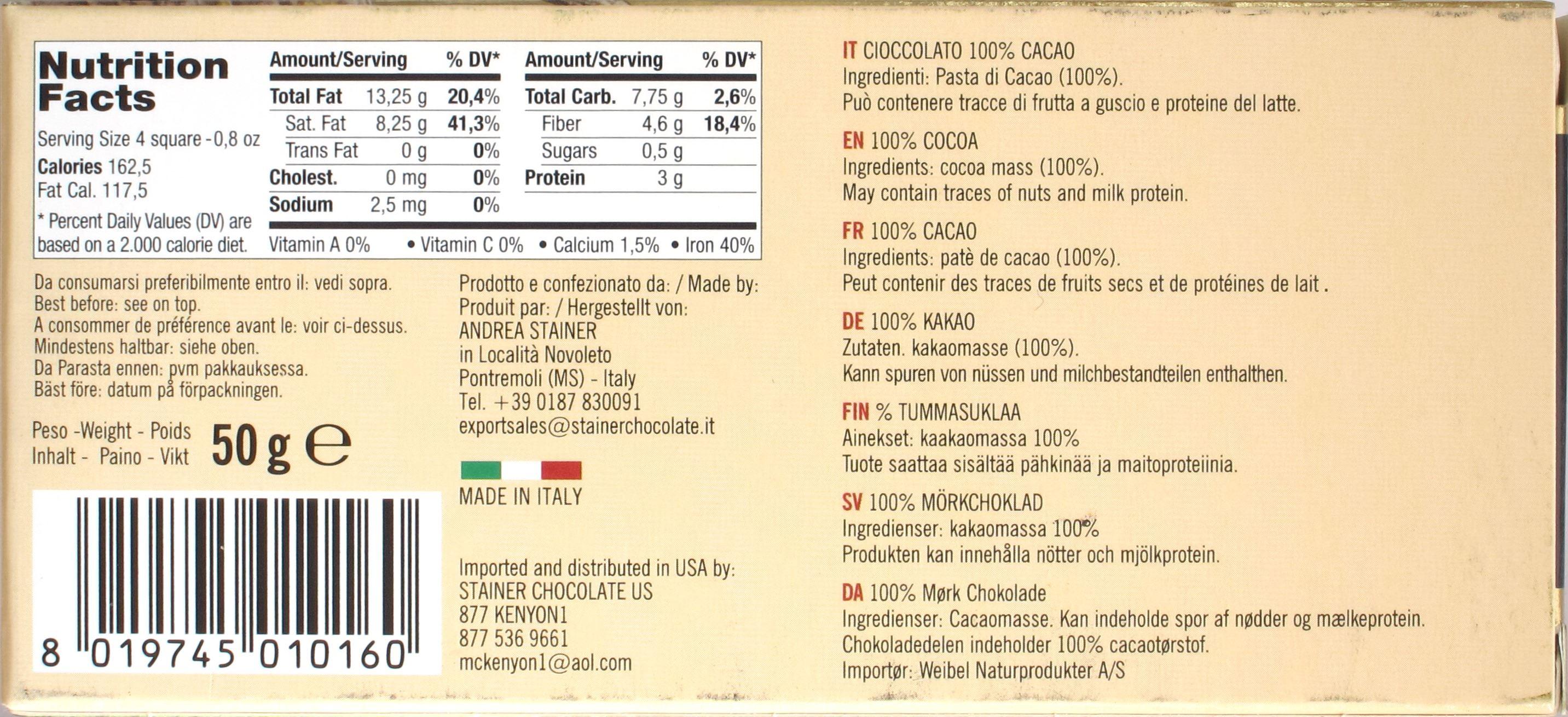 Rückseite Stainer 100% Schokolade bzw. Kakaomasse