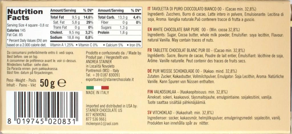 """Stainer Weiße Schokolade """"Puro"""" - Rückseite"""