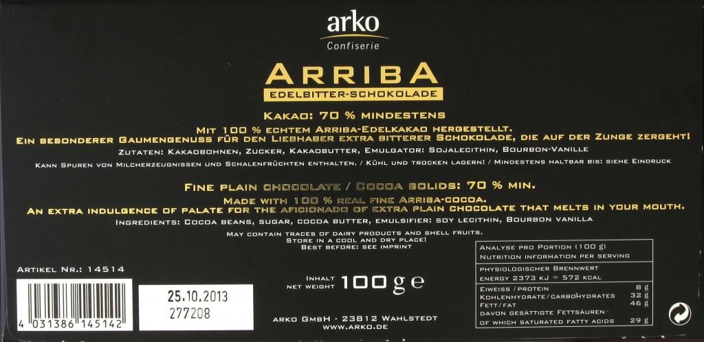 Rückseite einer Packung Arko Arriba Edelbitter Schokolade