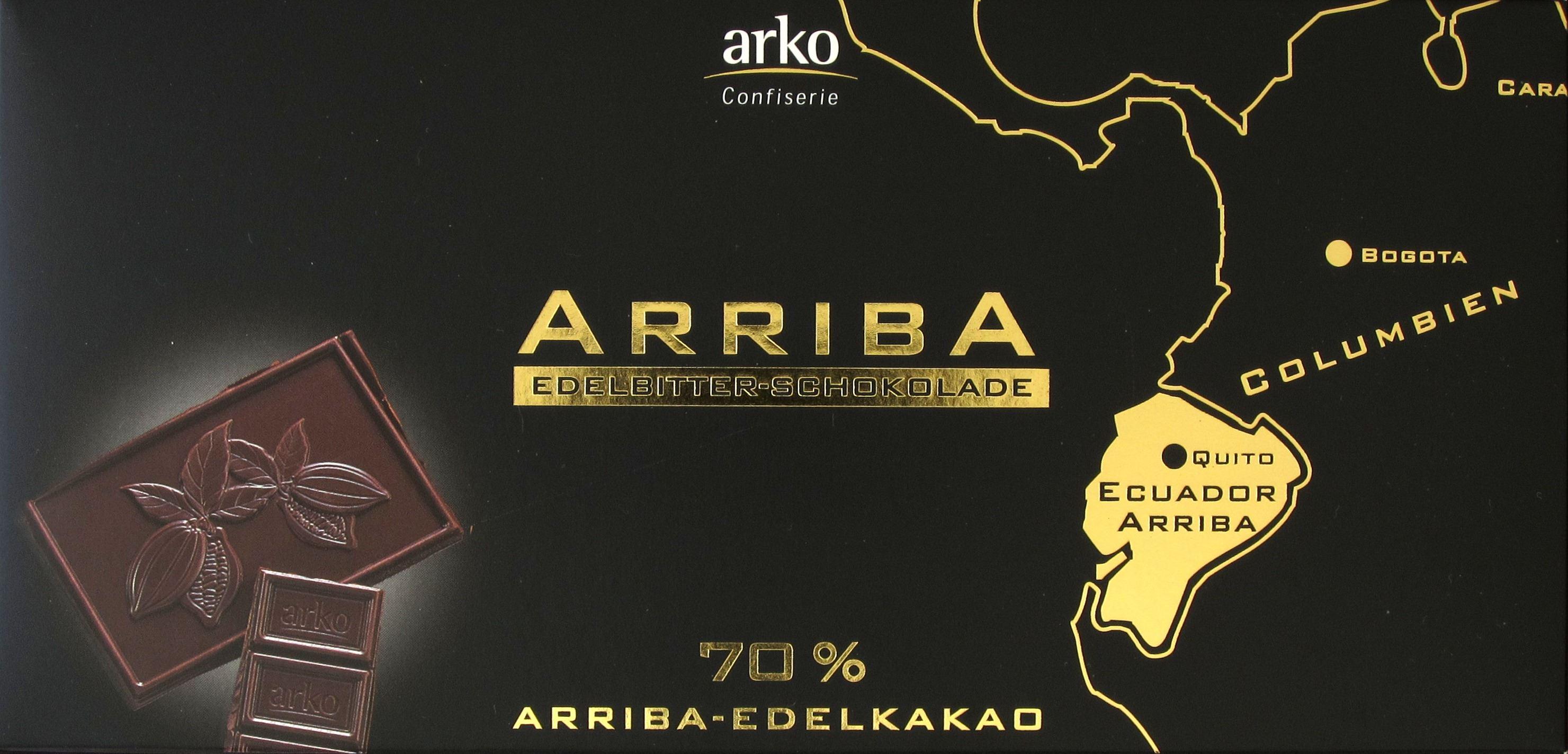 Vorderseite einer Packung Arko Arriba Edelbitter Schokolade