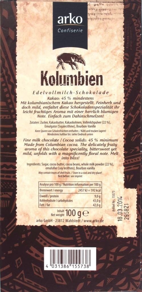 "Rückseite: Arko-Schokolade ""Kolumbien"" 45%"