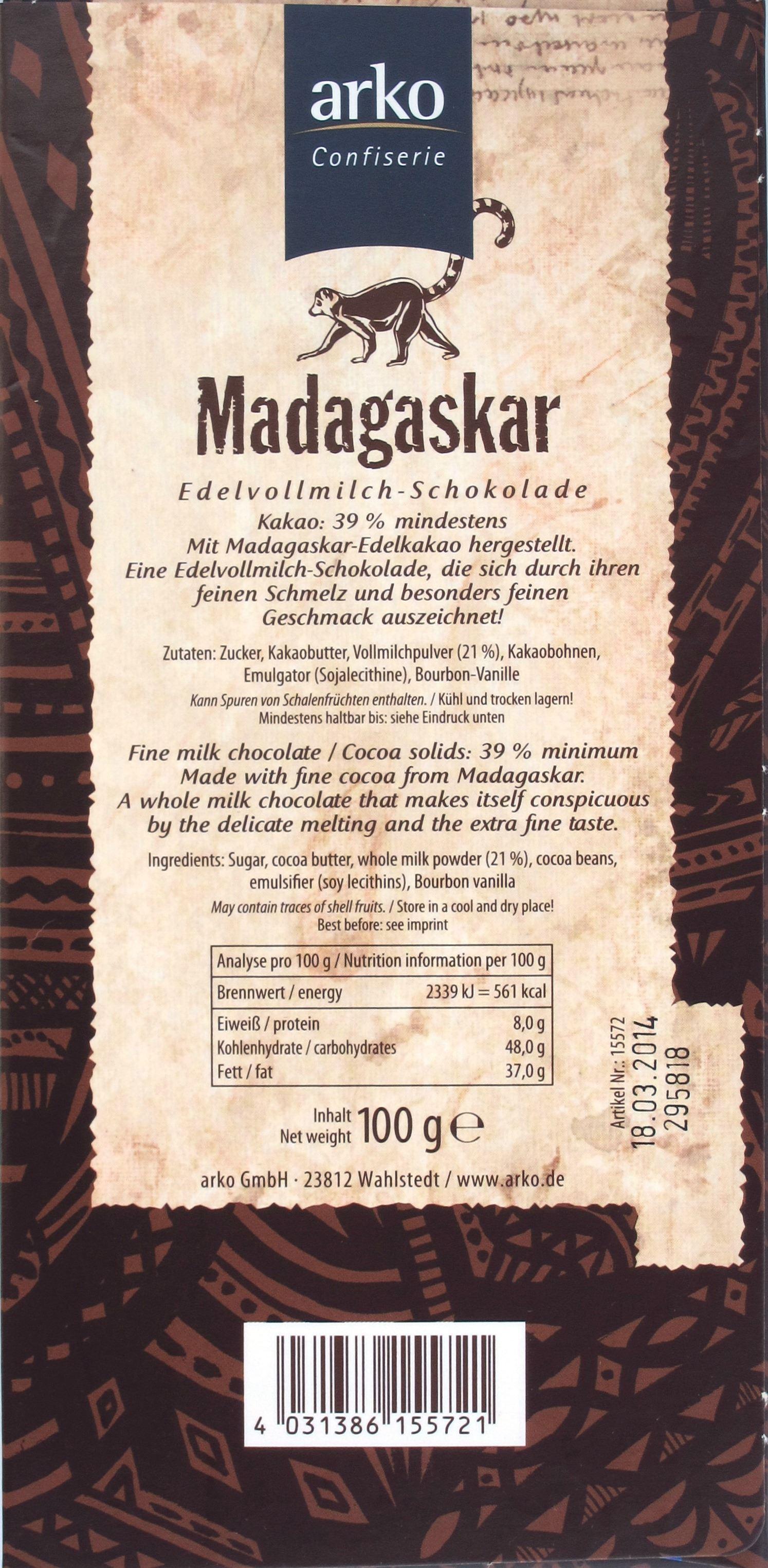 Arko, Madagaskar, 39%, Milchschokolade, Packungsrückseite