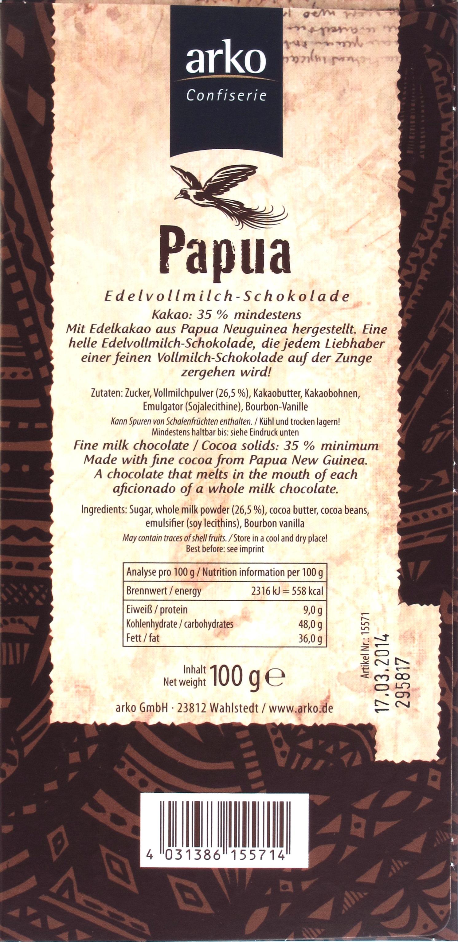 Arko-Milchschokolade 'Papua' - Rückseite