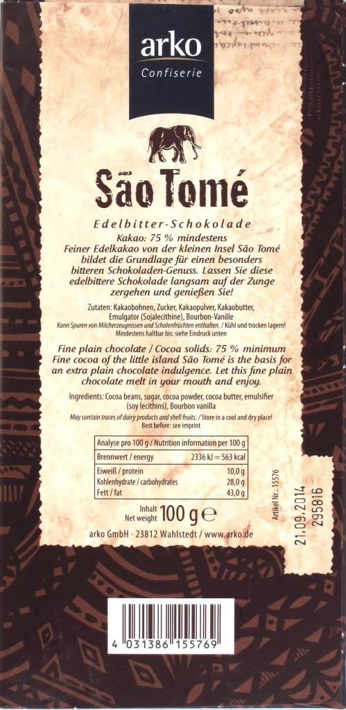 Sao-Tome-Schokolade von Arko, Rückseite