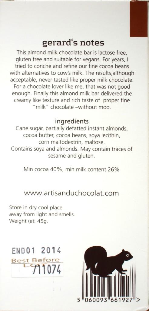 "Artisan du Chocolat, Packung, Sorte ""Almond Milk"", Rückseite"