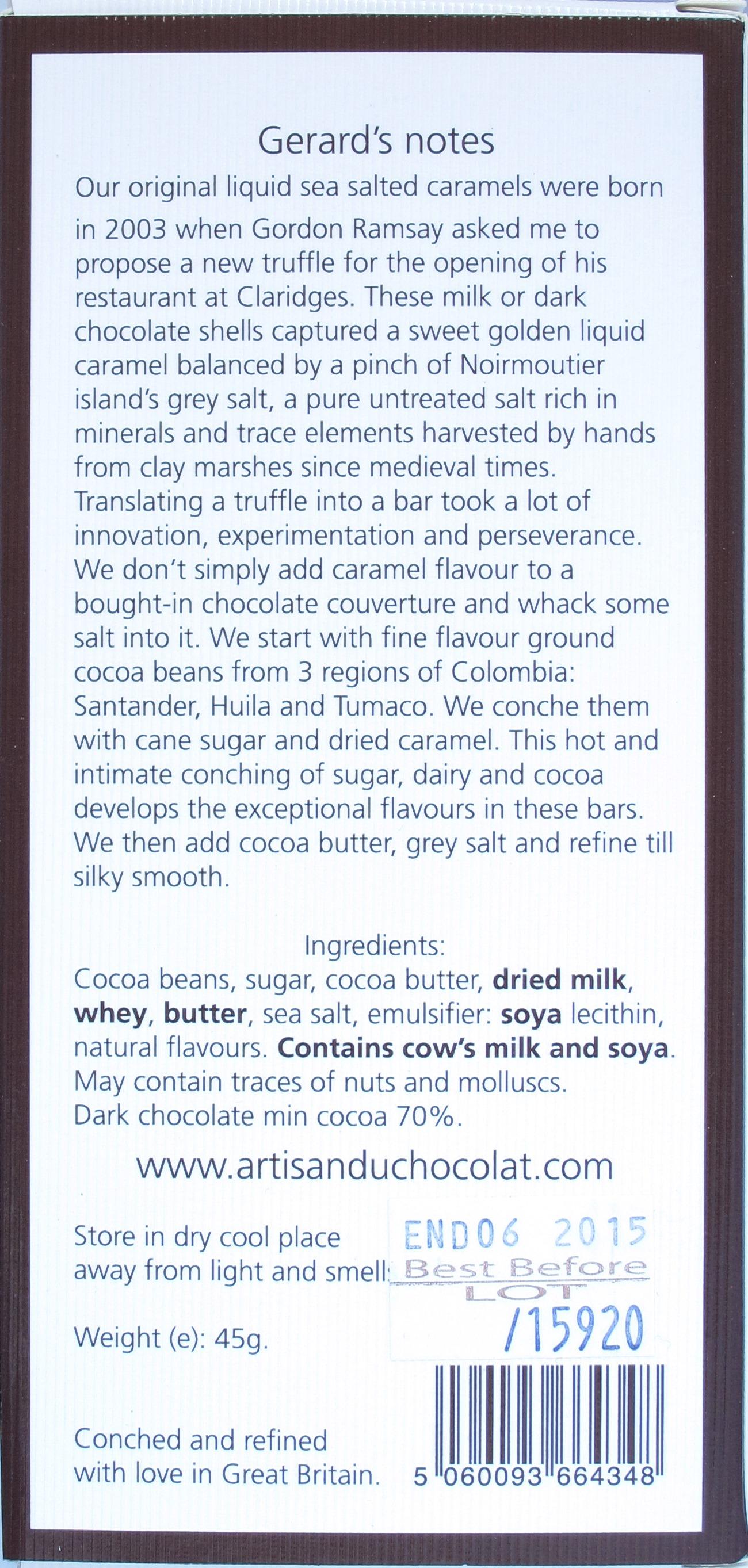 Artisan du Chocolat 70% Karamellsalzschokolade, Rückseite