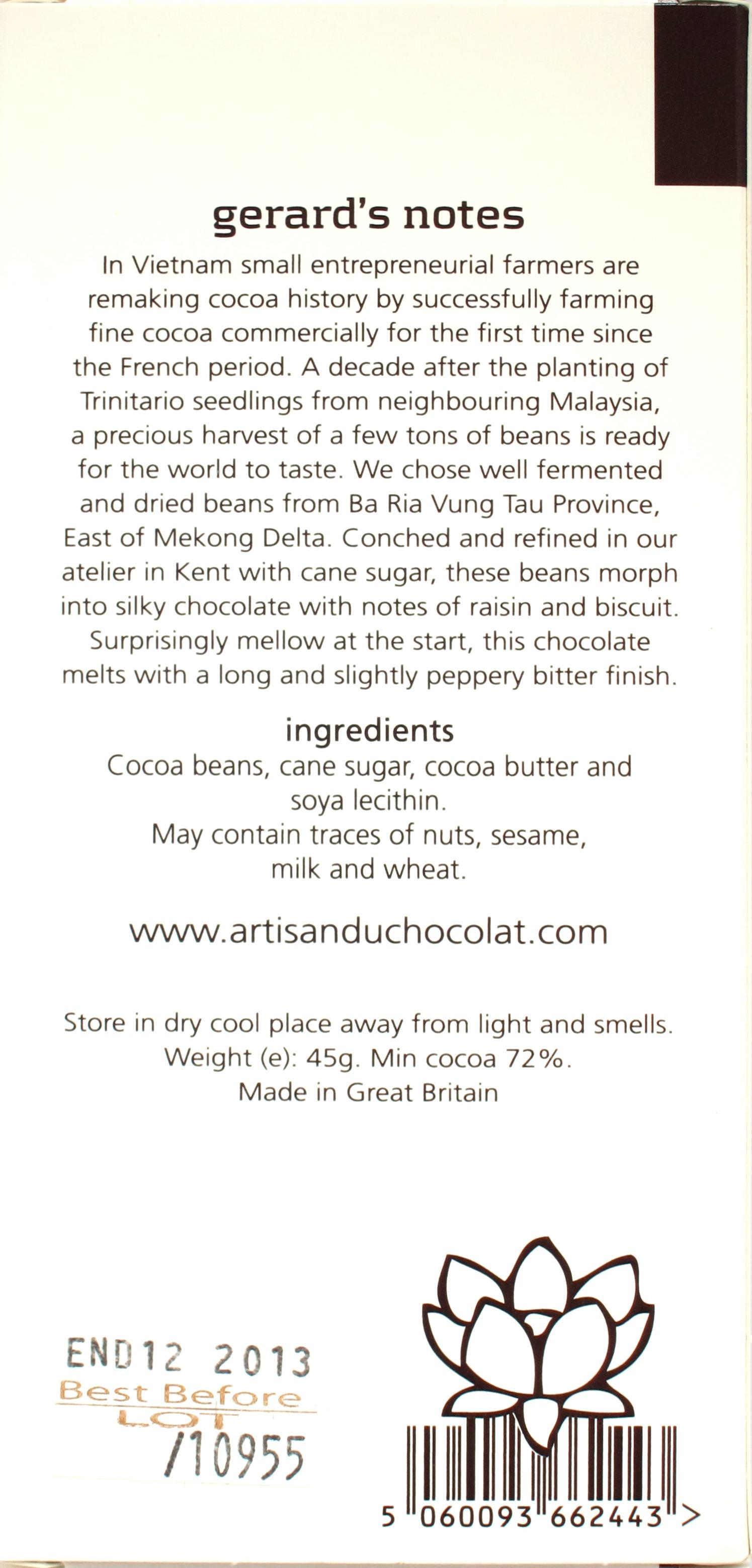 Artisan du Chocolat-Schokolade Vietnam 72% (Rückseite)