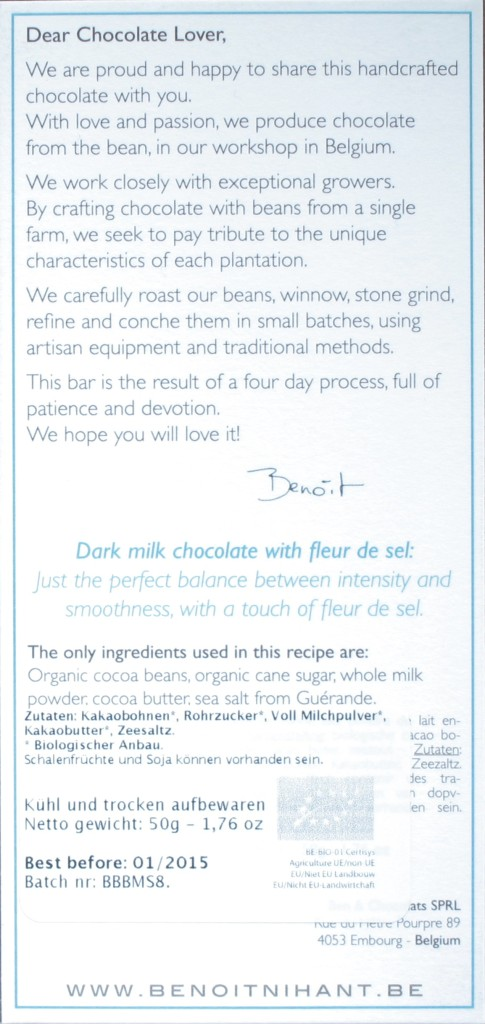 50% Milchschokolade von Benoît Nihant, Rückseite