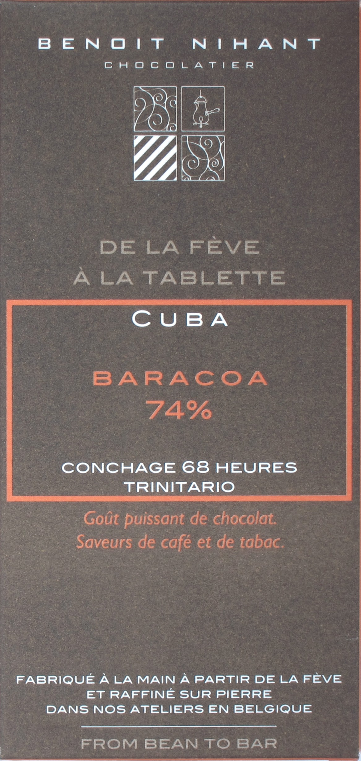 Benoit Nihant Bitterschokolade Cuba 74%, Vorderseite