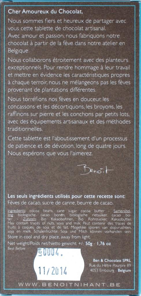 Benoit Nihant Bitterschokolade Chuao 74%, Rückseite