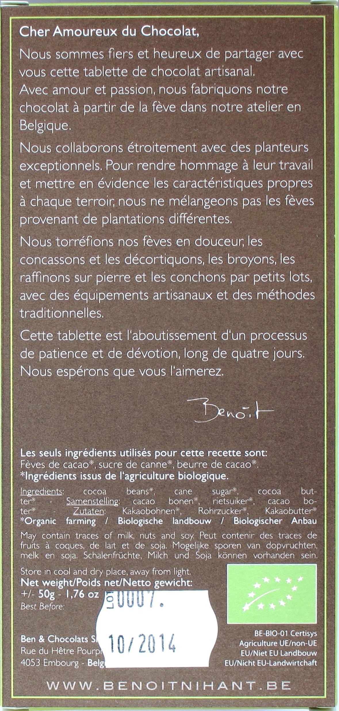 """Rückseite der Benoît Nihant-Bitterschokolade """"Hacienda Rio Peripa"""""""