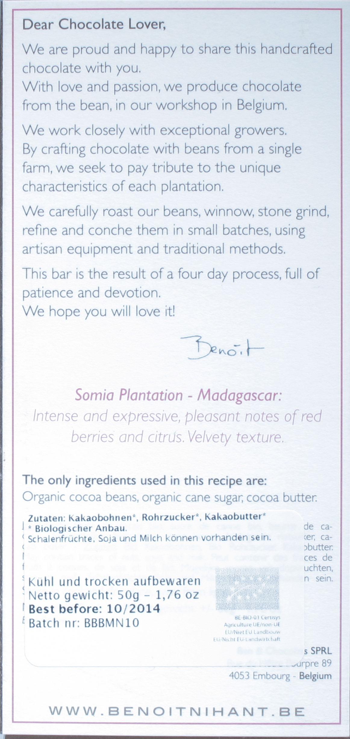 Benoit Nihant, Somia Plantation 72%, Dunkle Schokolade, Rückseite