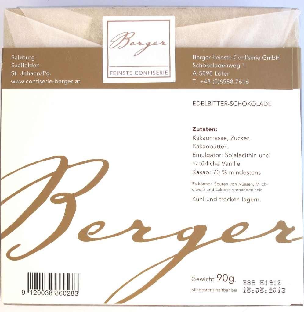 Berger 85% Schokolade, Rückseite