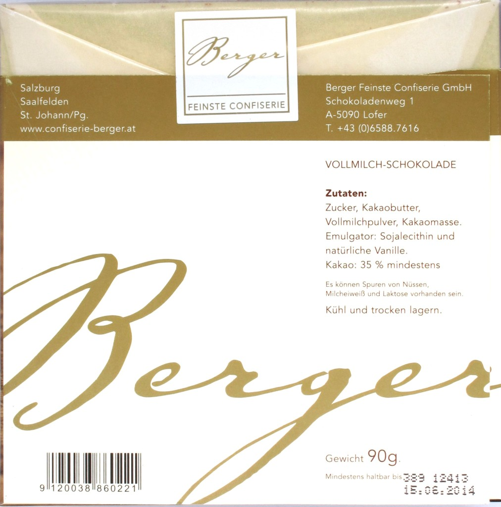 Confiserie Berger, Vollmilchschokolade 35%, Rückseite