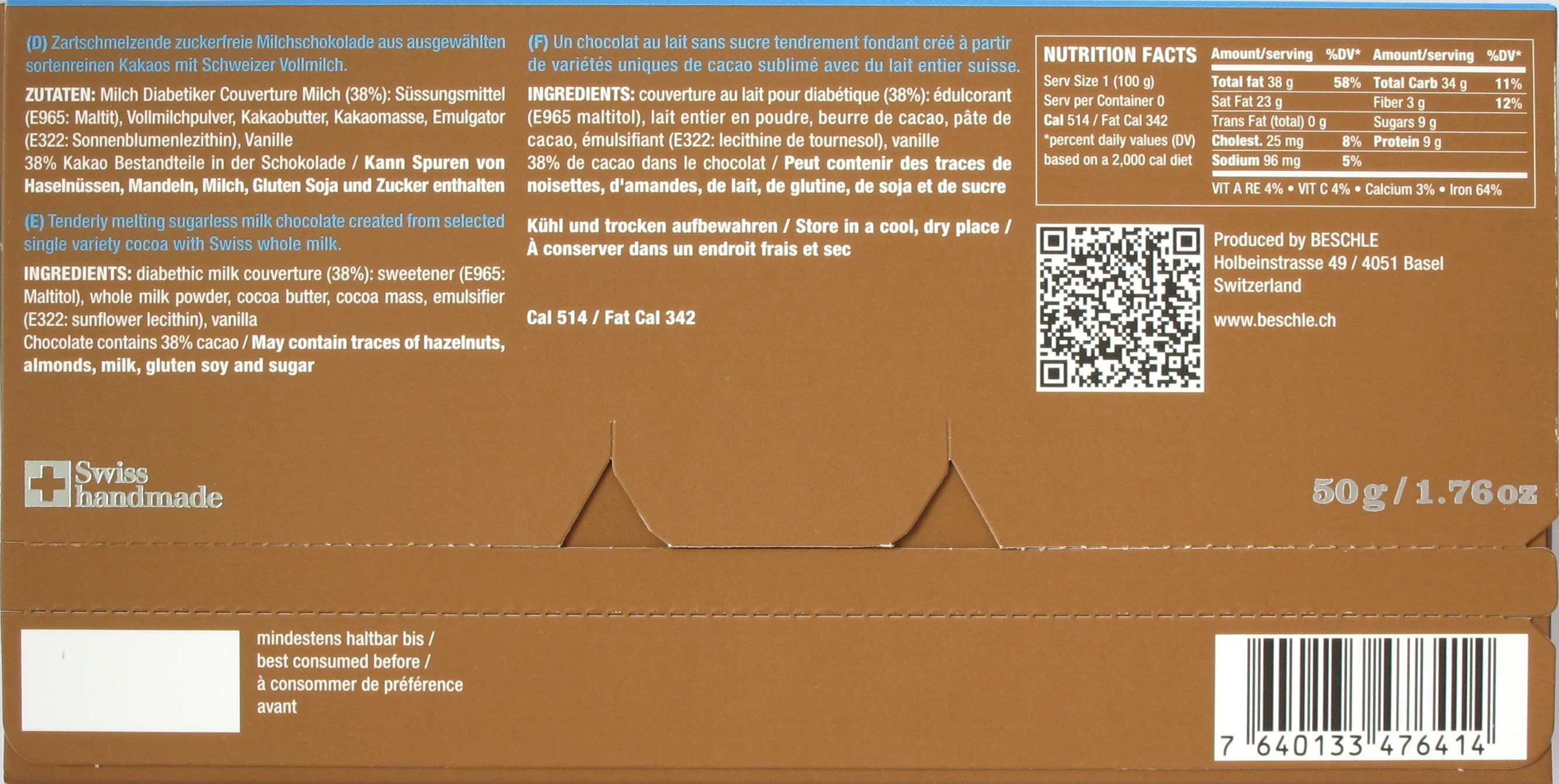 Beschle-Schokolade 38% Milch Zuckerfrei, Rückseite