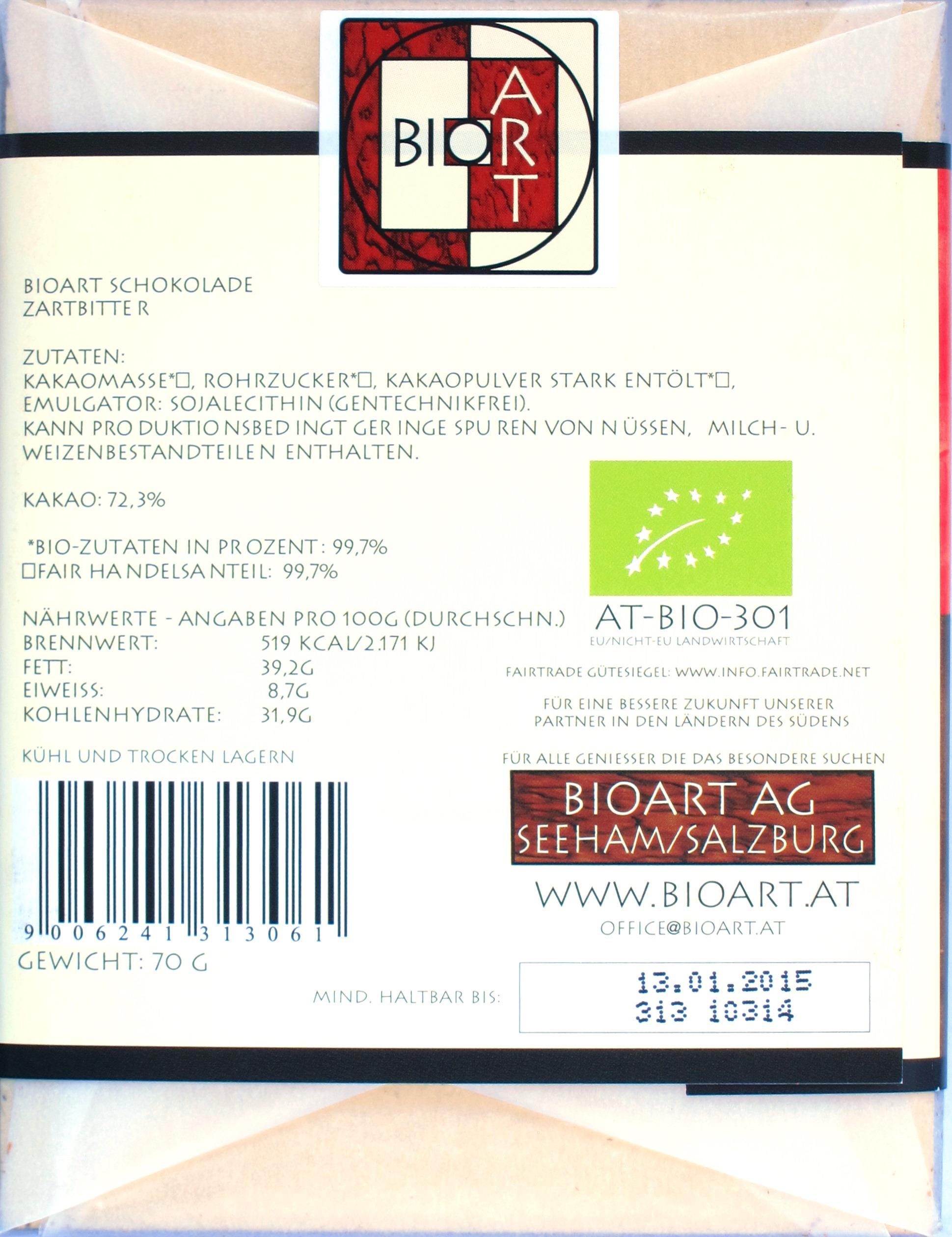 BioArt 72% Bitterschokolade, Rückseite