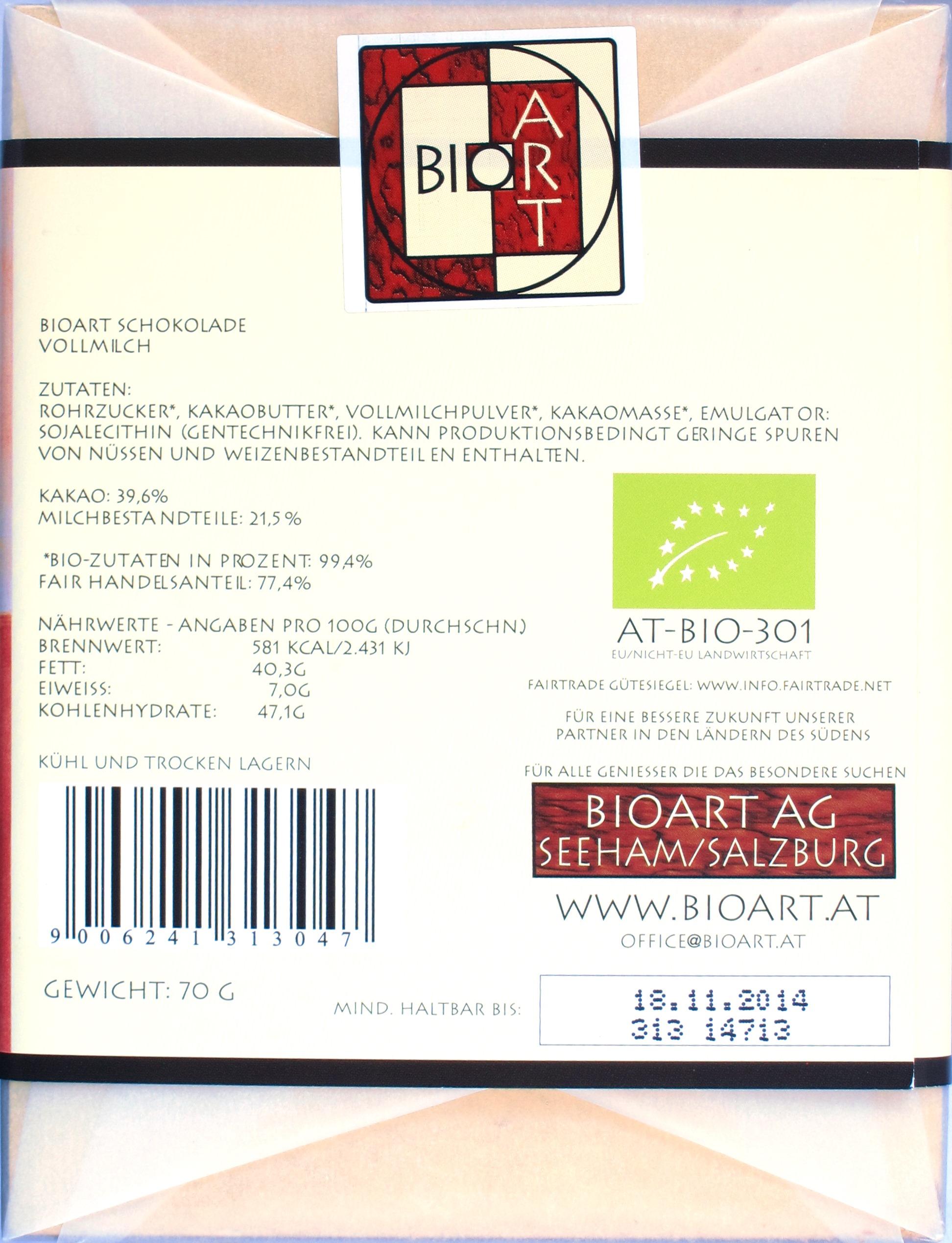 "Hinten: BioArt ""Vollmilch"""
