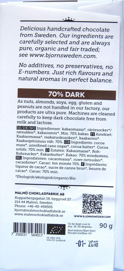 Björn of Sweden 70% Bitterschokolade, Rückseite