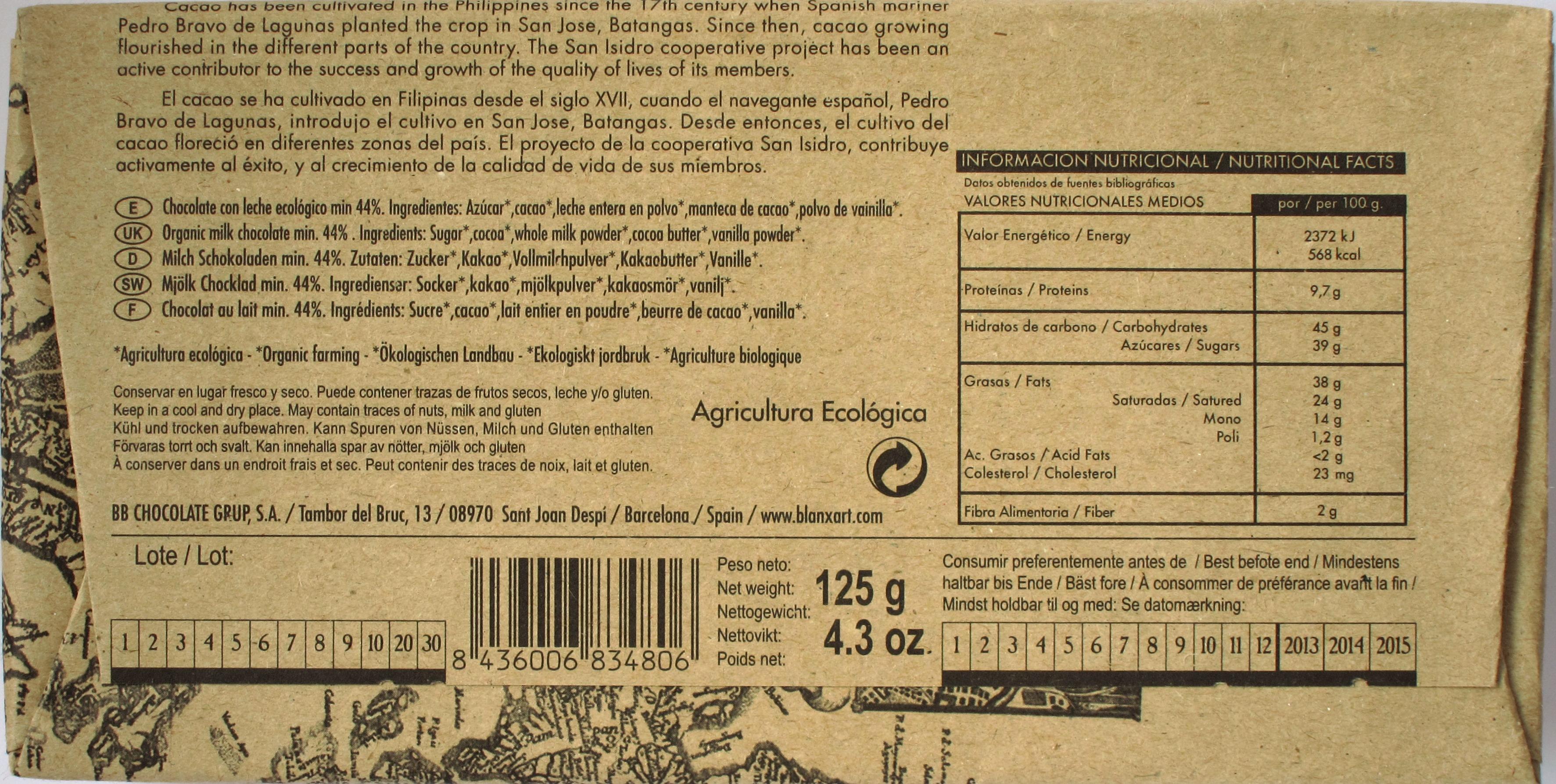 Rückseite: Blanxart-Milchschokolade 44% Philippinen