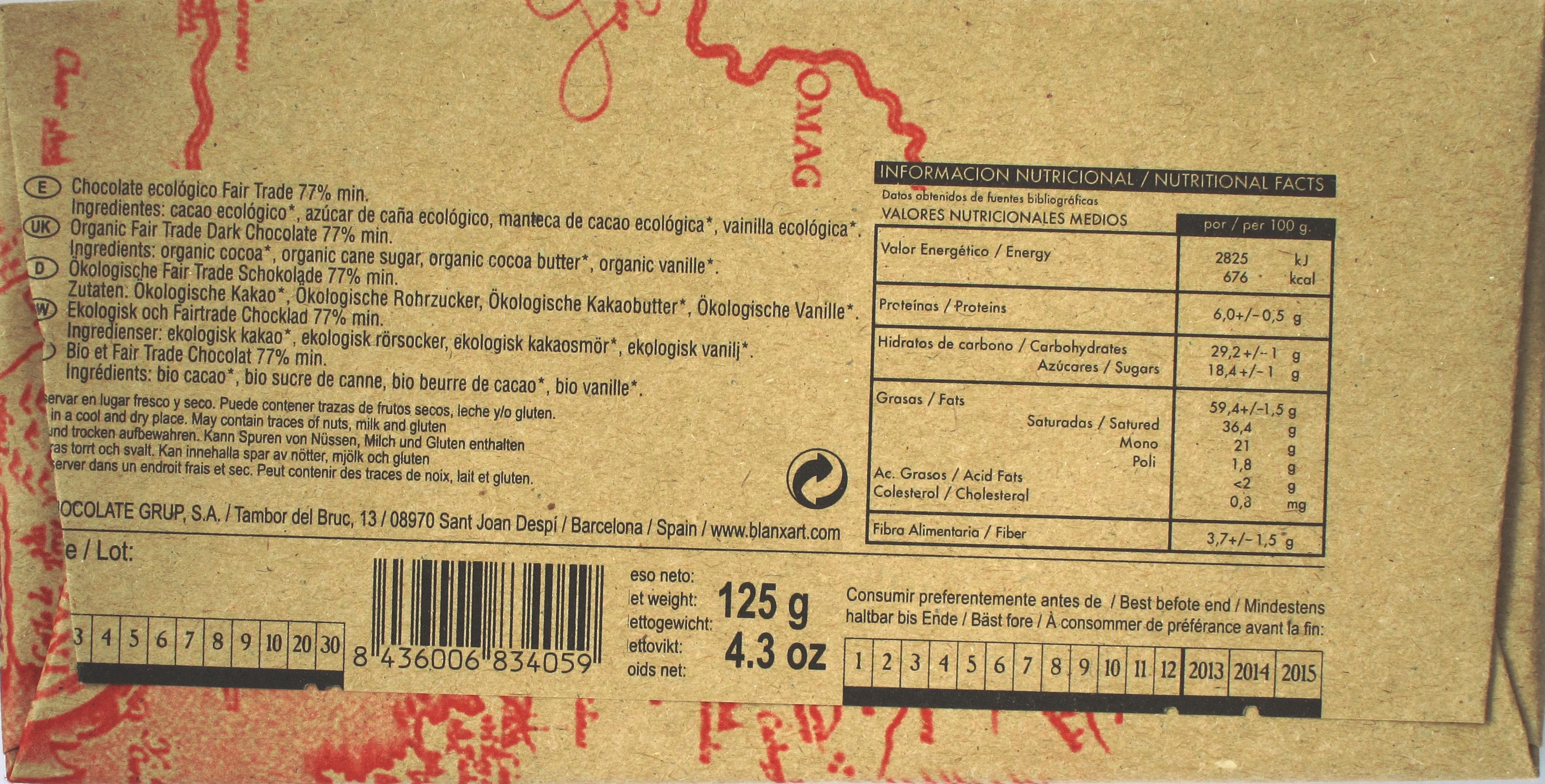77%-Peru-Schokolade von Blanxart, Rückseite