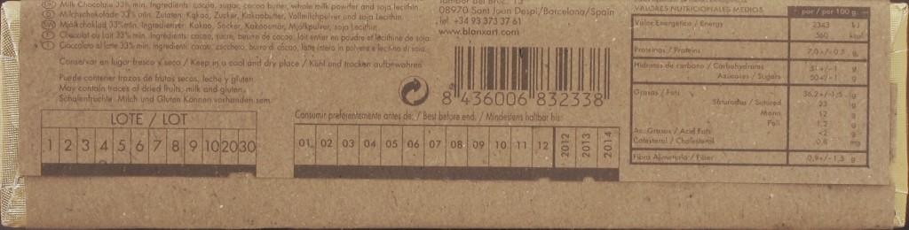 Blanxart Milchschokolade 33% - Rückseite