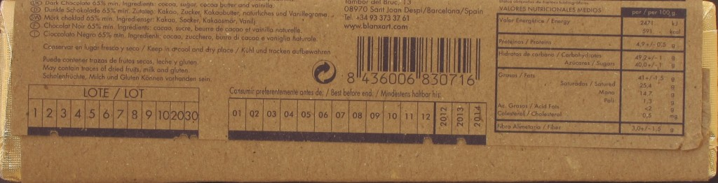 Blanxart-48g-Riegel Chocolate Negro 65%, Rückseite