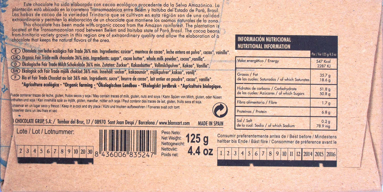 Blanxart Chocolate Leche 36% Brasil, Inhaltsangaben