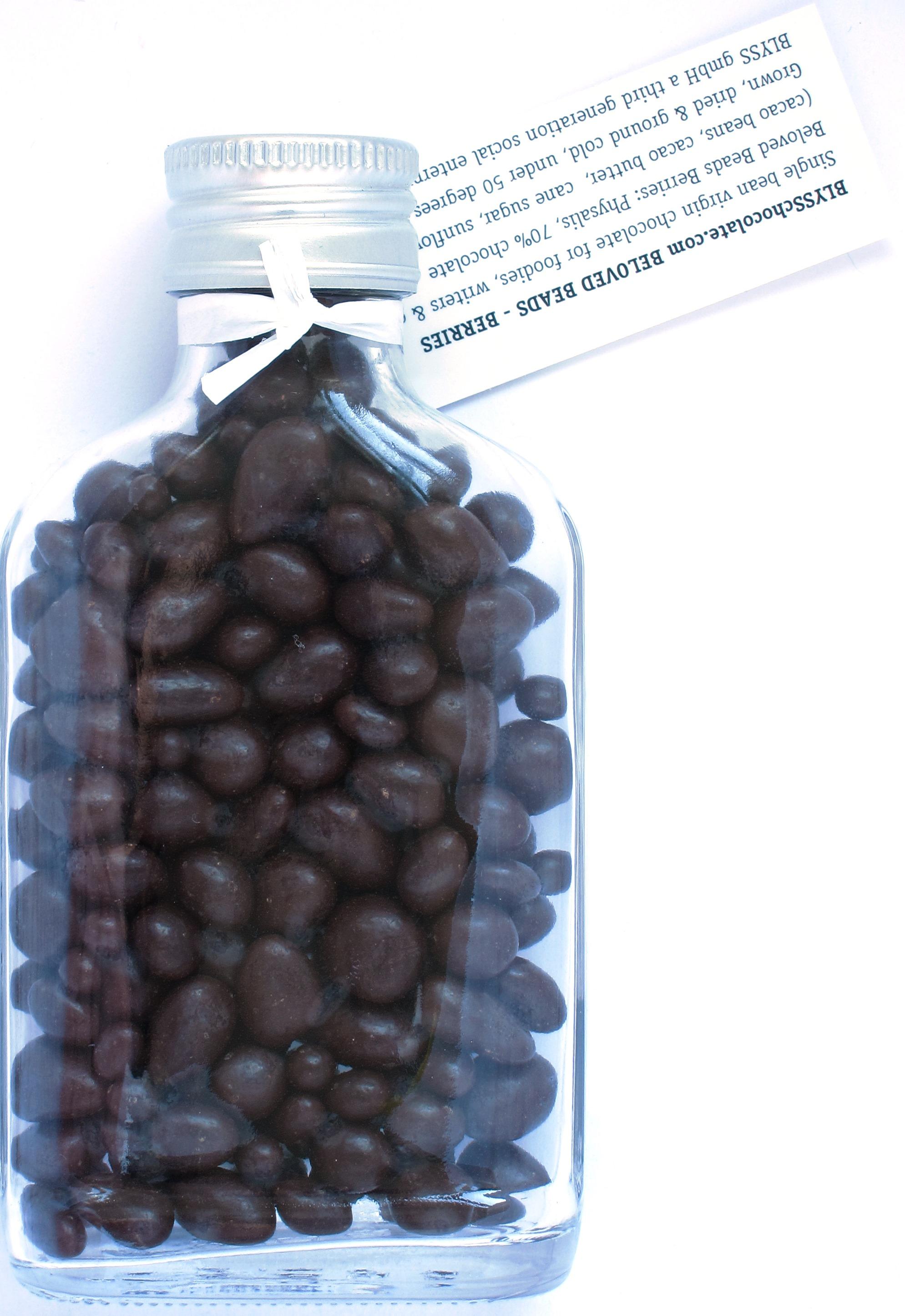 Blyss Geschenkflasche: Schokolade mit Beeren, von hinten