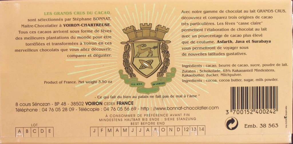 Chocolat Bonnat Lait 65% 100g, Rückseite