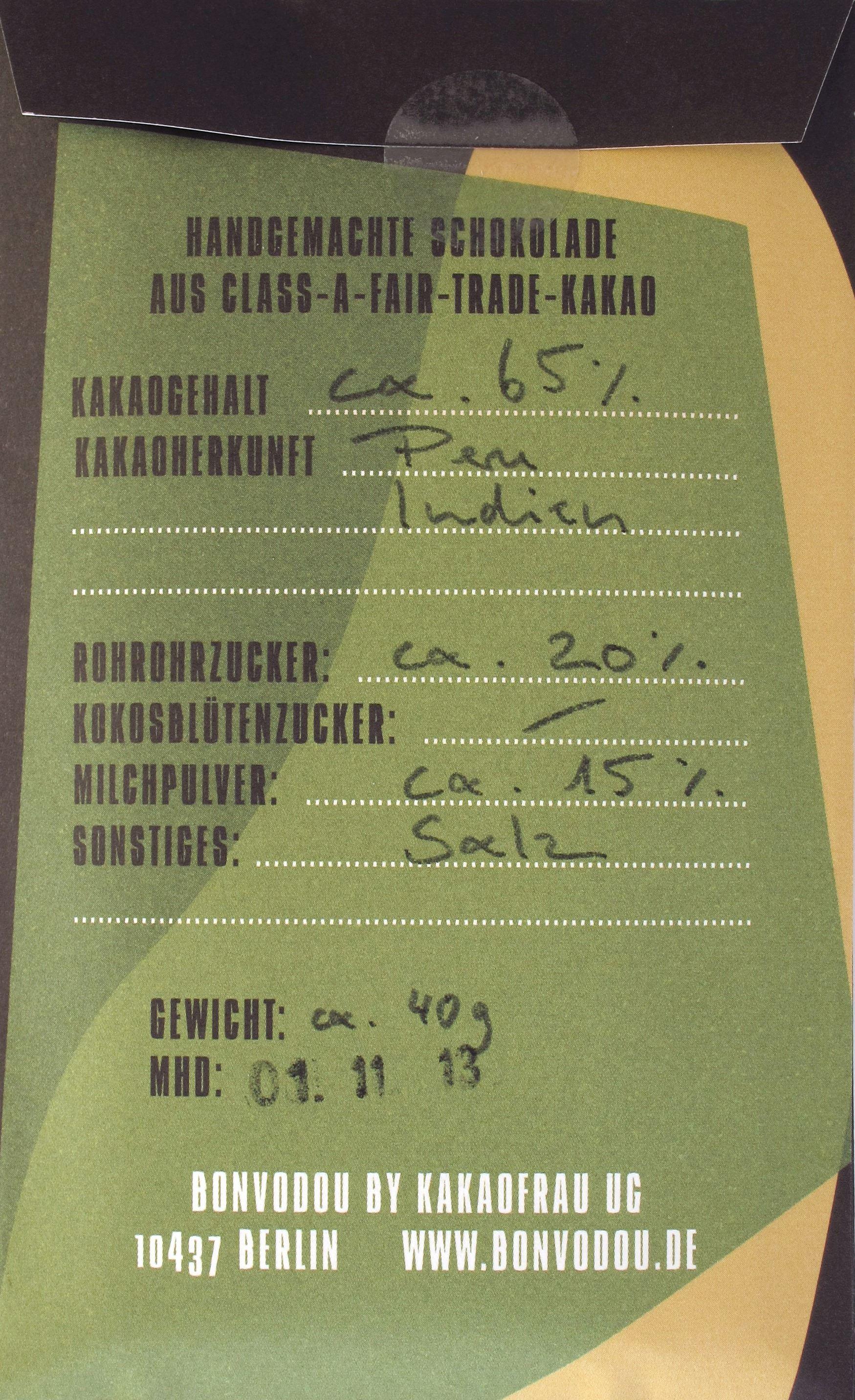 Bonvodou Salzige Ziegenmilch-Schokolade - Packungsrückseite