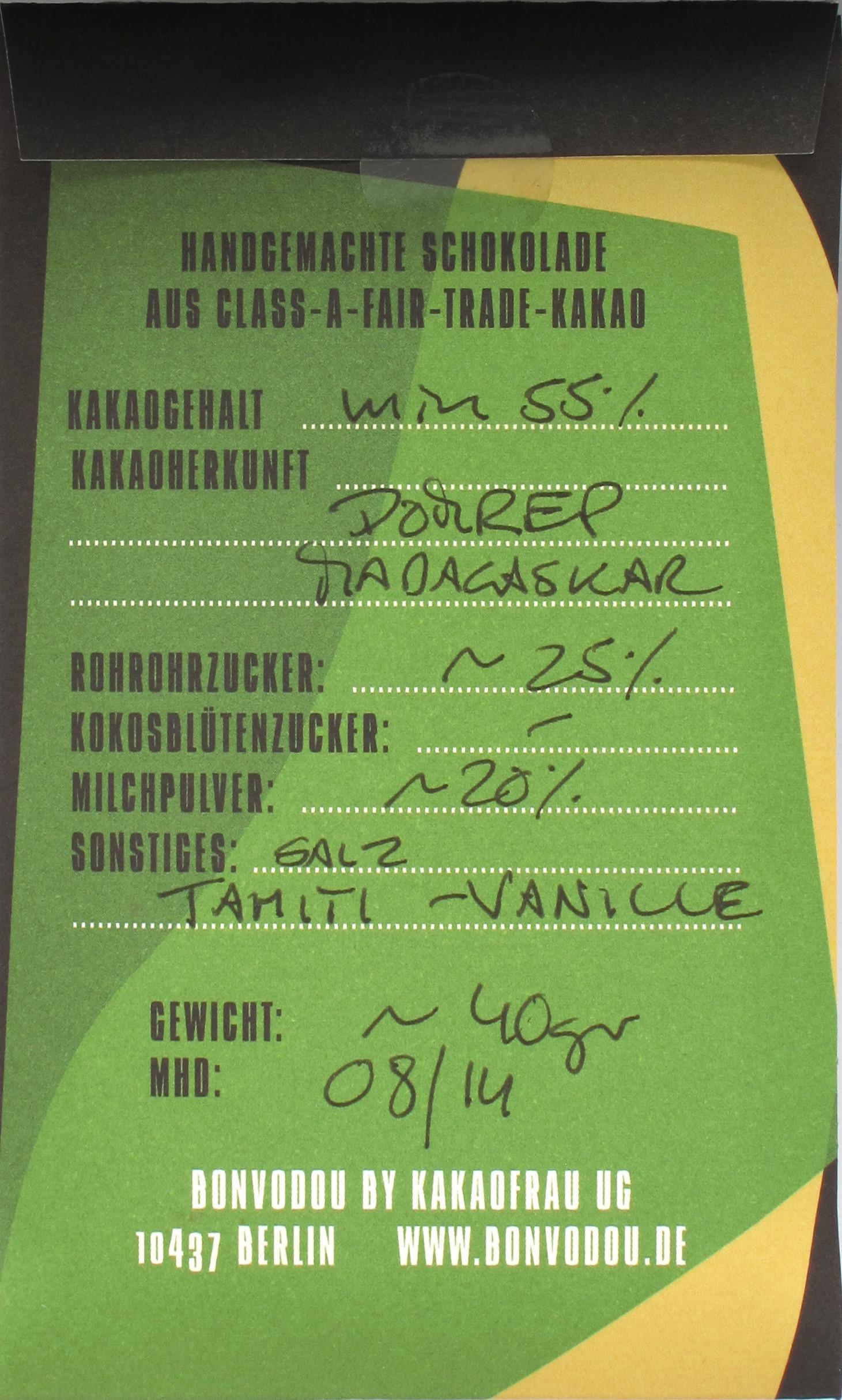 "Bonvodou ""MM Vanille 55%"", Hinten"