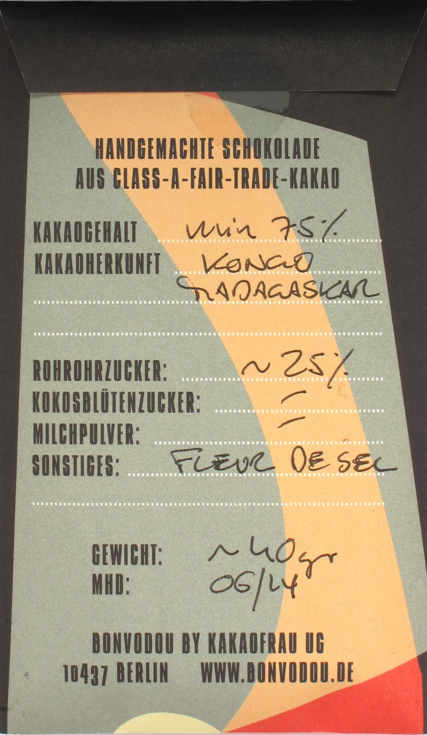 Bonvodou Salsplitter 75%, Rückseite